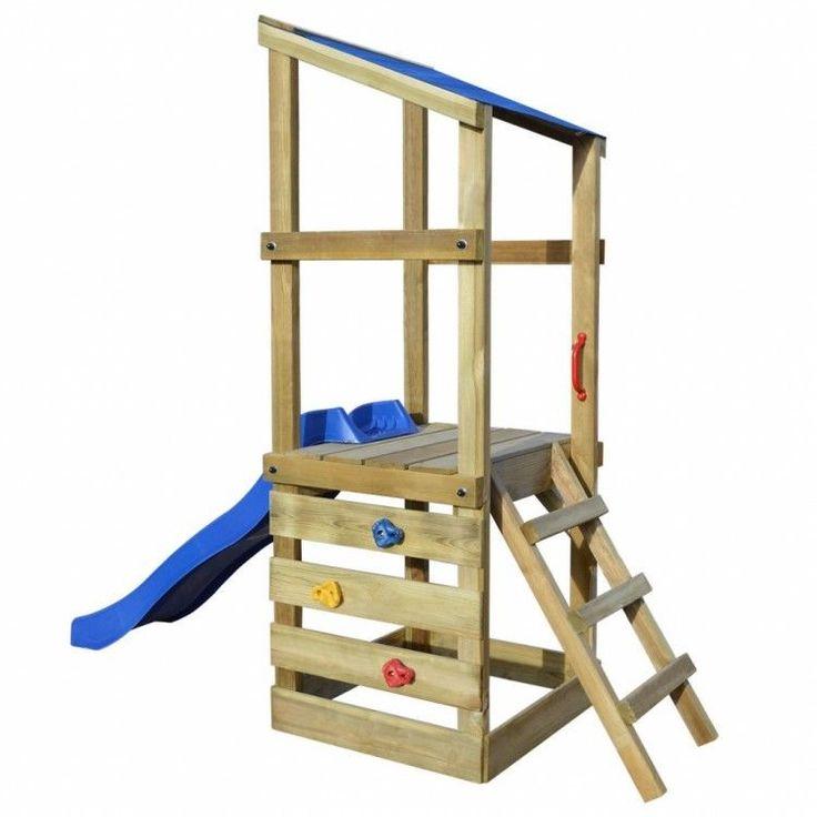 Wooden Patio Tower Slide Outdoor Playhouse Ladder Game Kids Children Toy Set