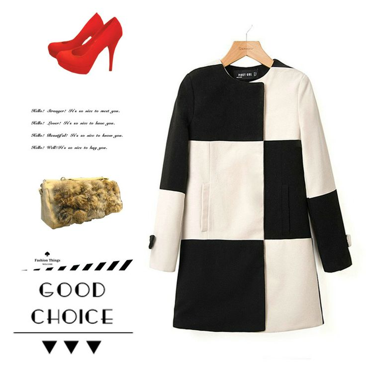 new 2014 fashion black and white color block patchwork plaid woolen overcoat x2398 women winter coat & jackets casacos femininos $38.92