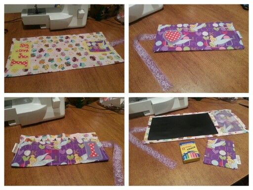 Custom made creation...roll up chalkboard and crayon roll with Tinkerbell and Cupcakes :) check it out at www.facebook.com/bdmadebyme