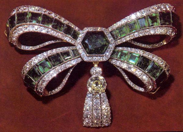 Monumental emerald and diamond devant de corsage of Infanta Maria Ana Francisca of Portugal. 18th century.