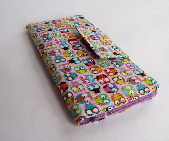 tiny cute owls on pink organizer clutch wallet with 4 card pockets, 2 bill pockets, and 1 zipper pocket, velcro closure on Etsy, £15.88