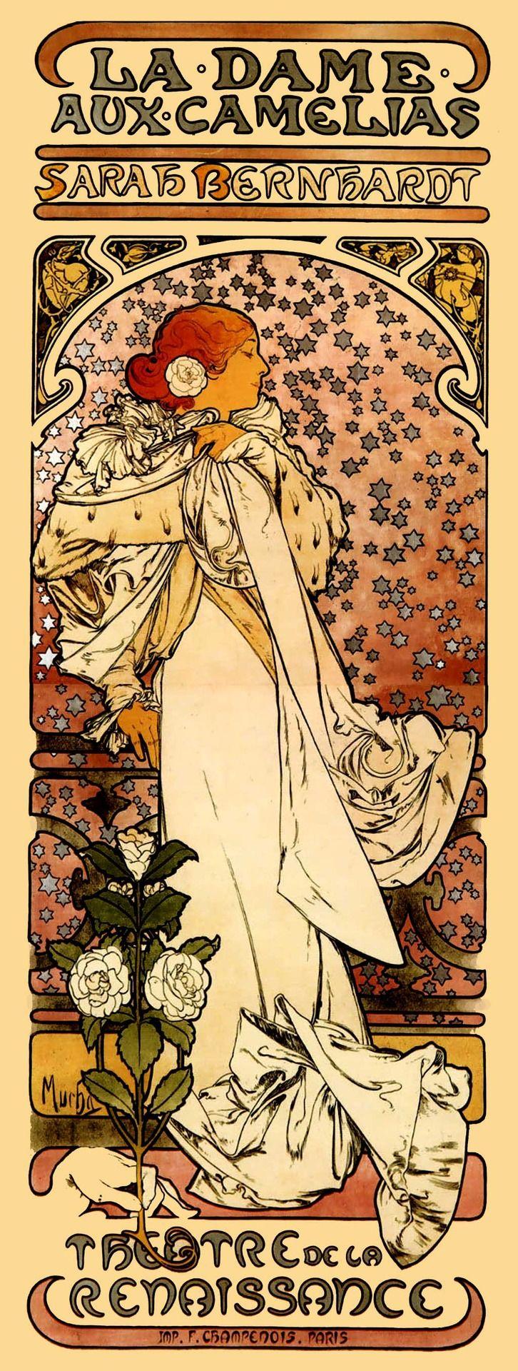 Mucha Art Nouveau poster of Sarah Bernhardt.