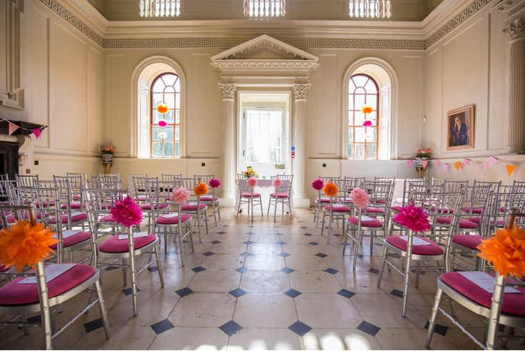 Silver Chivari Chairs. Pink Seat Pads! Chichley Hall. #chairhire #silverchairs