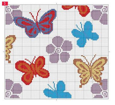 ♥Meus Gráficos De Ponto Cruz♥: Almofadas: Borboletas e Flores Vazadas em Ponto Cruz