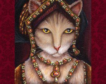 Tudor Cat Magnet Jane Seymour Tudor Wife of King by TaraFlyArt