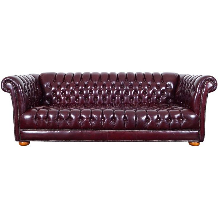 Vintage Burgundy Leather Chesterfield Sofa In 2019