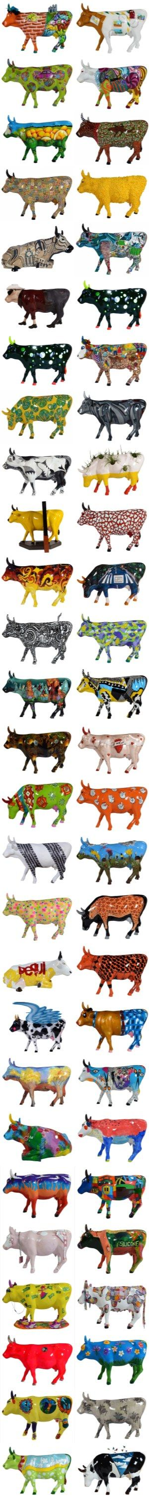 "Cow Parade.  Goiânia.  Go Brasil. ""Go Purple Cow, Go"" (All those cows and only one is purple.)"