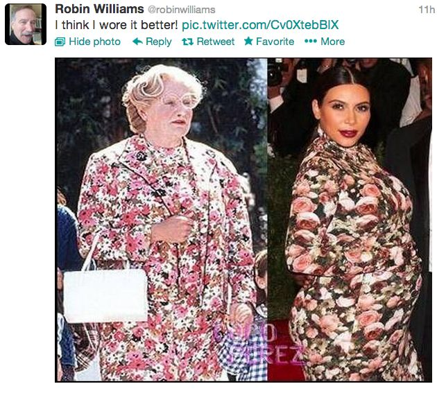 I think I need to join Twitter JUST to follow Robin Williams.