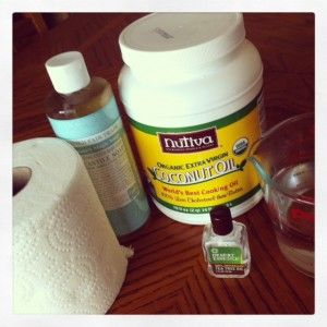 DIY WIPES -2 T Dr. Bronner's  -1 T Coconut oil  -Essential oils (Optional-I use 6-8 drops of lavender and orange, I also like to put a few drops of tea tree oil for an extra boost, and it also helps keep mildew and mold away, the coconut oil also helps too)  2 cups water boiled then slightly cooled