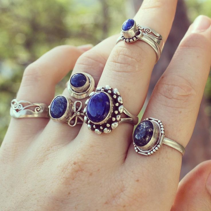 These sterling silver rings range from $13 to $23 USD Lapis lazuli gemstone bohemian, gypsy rings