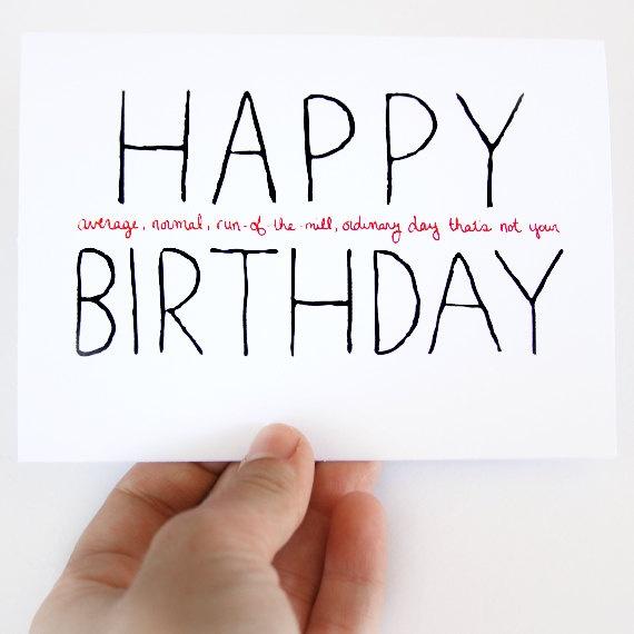 Funny Birthday Card. Non-Birthday Card. Happy Average