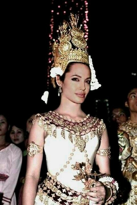 Angelina Jolie! In Khamer (Cambodian) Apsara dancing clothes!  She looks Hot!
