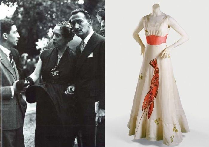 Эльза Скиапарелли с Сальвадором Дали и их совместный шедевр – знаменитое платье с лобстером