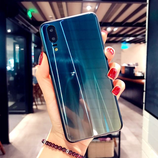 Gradient Color Glass Phone Case For Huawei P20 P20pro Luxury Ultra Slim Phone Cover For Huawei P20 Lite Honor 10 Case In Ha Luxury Plates Silicone Cover Huawei