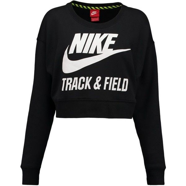 Nike Sportswear Sweatshirt / white (93 CAD) ❤ liked on Polyvore featuring tops, hoodies, sweatshirts, shirts, sweaters, jumpers, black, black sweatshirt, white sweatshirt and black long sleeve shirt