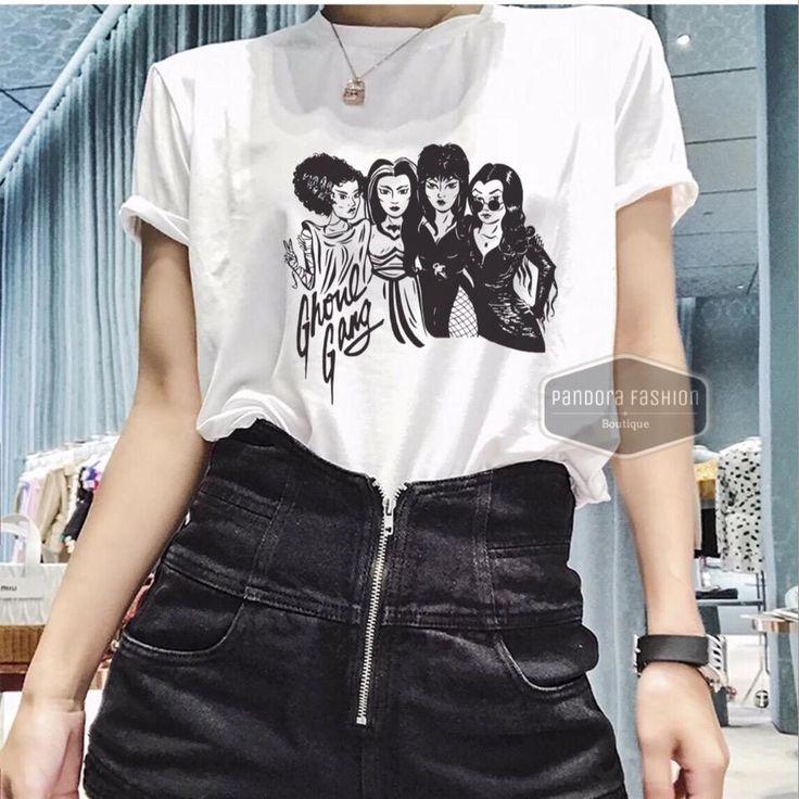 Elvira, Morticia, Lily, Bride Ghoul Gang Halloween T-shirt