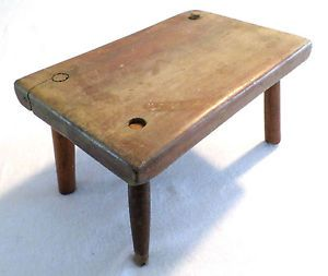 antique primitive wooden stool from northern vt estate small size foot rest