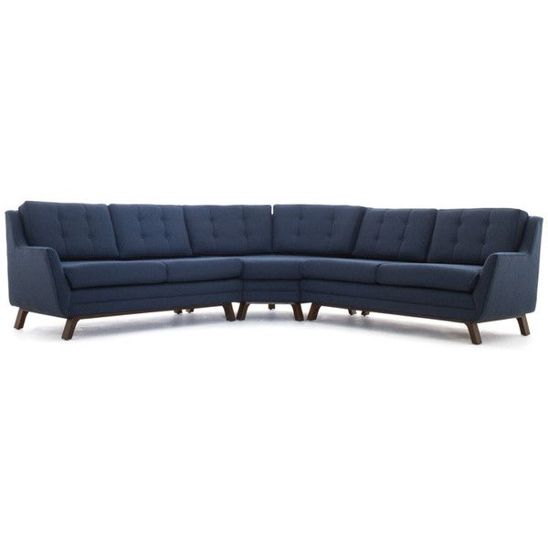 Joybird Eastwood Mid Century Modern Brown Round Corner Sectional ($3,839) ❤ liked on Polyvore featuring home, furniture, sofas, brown, sectional sofas, brown couch, colored furniture, brown furniture, brown sofa and brown sectional