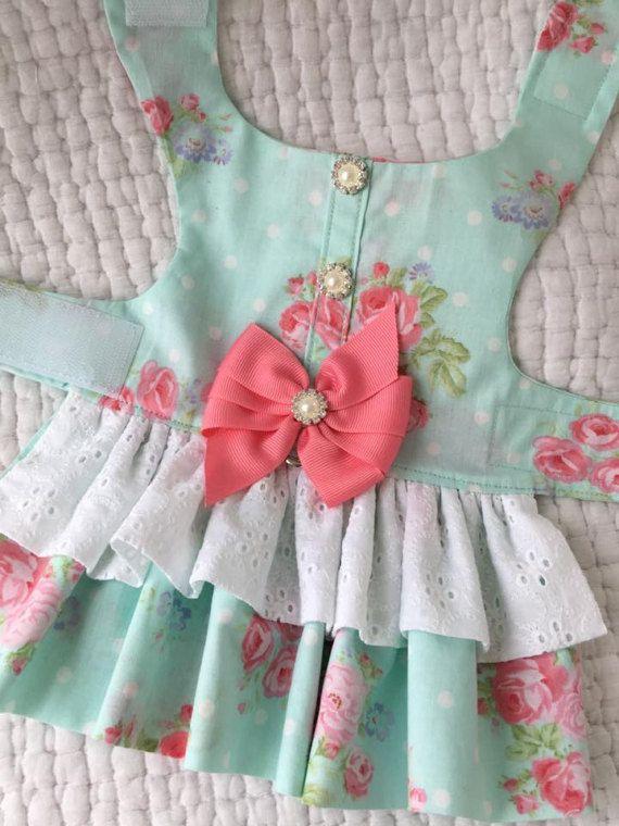 Shabby Chic Spring Dog Dress Dog or Cat Harness Custom Made