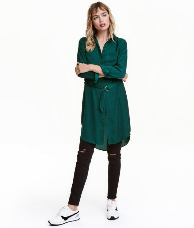A satin shirt dress that'll look good when worn over tights *or* pants. | 30 Beautiful And Inexpensive Dresses You'll Want To Wear Every Day