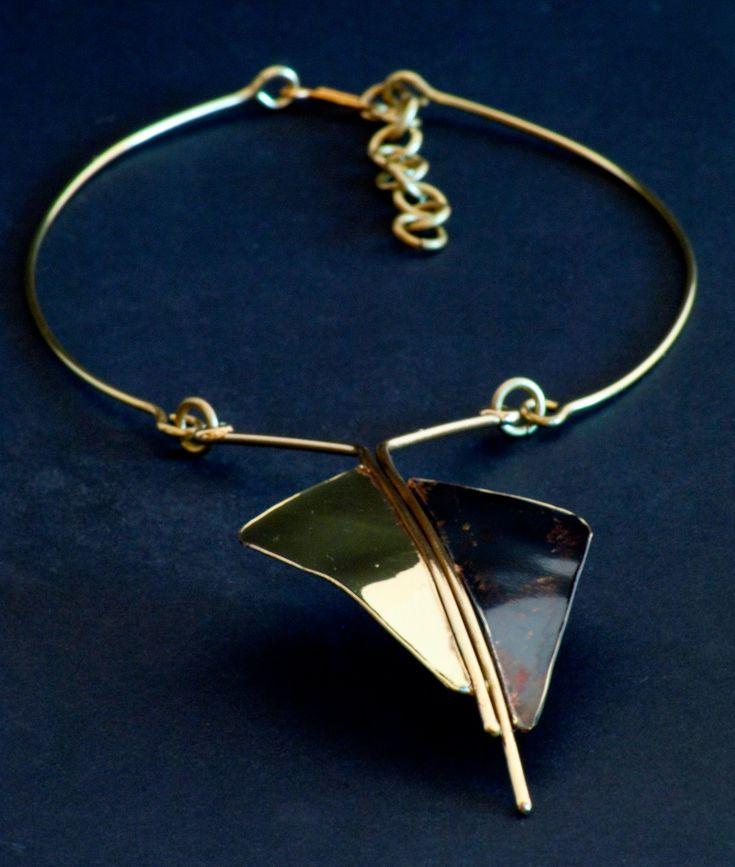 Ethnic two-tone brass necklace, artisan jewelry