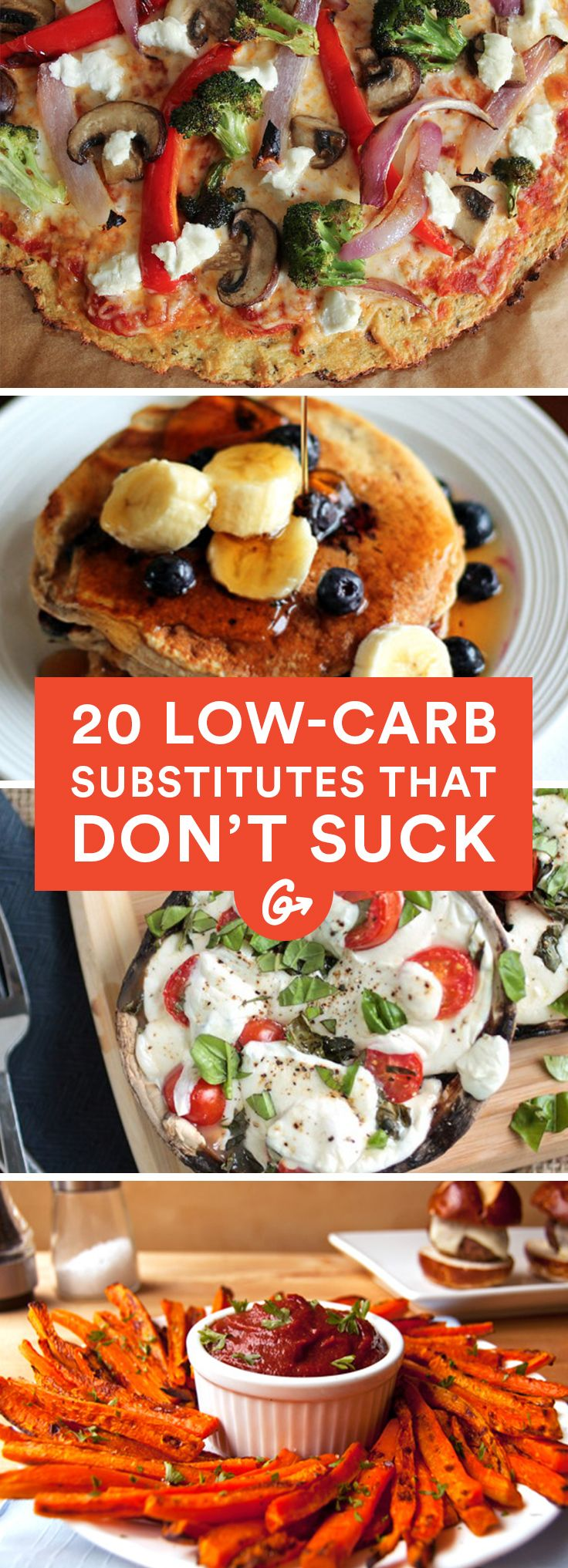20 Low-Carb Substitutes That Don't Suck #healthy #lowcarb #recipes http://greatist.com/health/lower-carb-alternatives