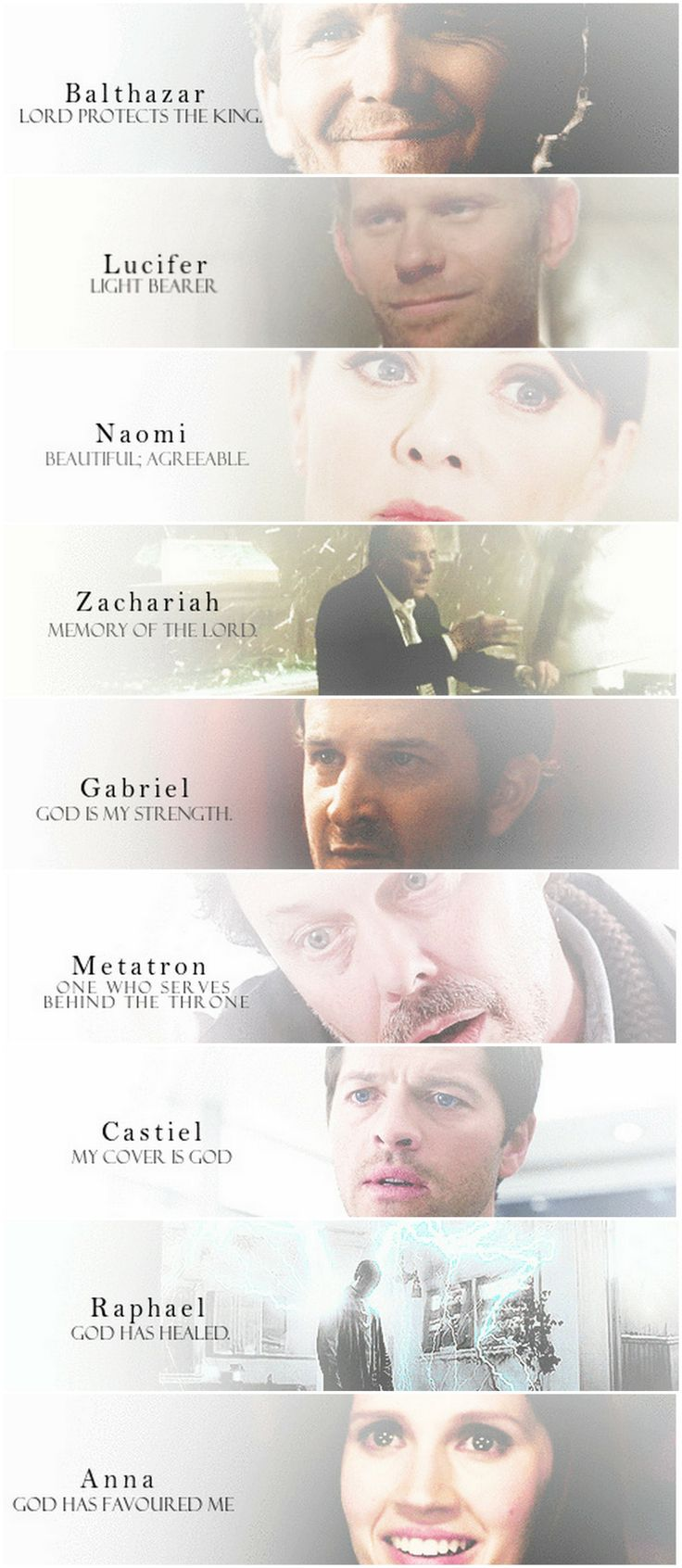 [gifset] Angels of Supernatural and their name meanings. #SPN