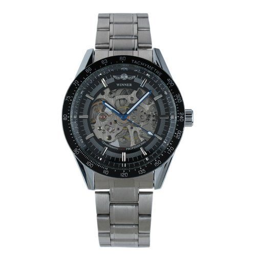 WM174 ESS Mens Black Bezel Skeleton Stainless Steel Automatic Wrist Watch ESS. $25.99. precision Japanes mechanical movement. come with black gift box. skeleton dial. 100% brand new. stainless steels watch case