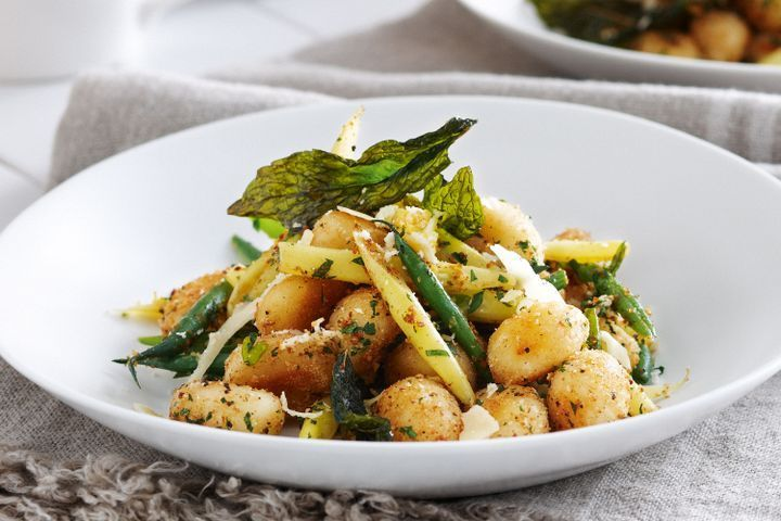 Gnocchi polonaise with beans and burnt butter
