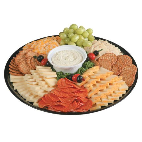"The ultimate snacking platter offers cracker-cut Sharp Cheddar Cheese, Colby Jack Cheese, Hot Pepper Cheese, Muenster Cheese and Garlic Cheese Spread along with pepperoni, seasonal grapes and plenty of wheat crackers. The Super Snacker has ""all in one"" crowd-appeal! Serves 12-15."