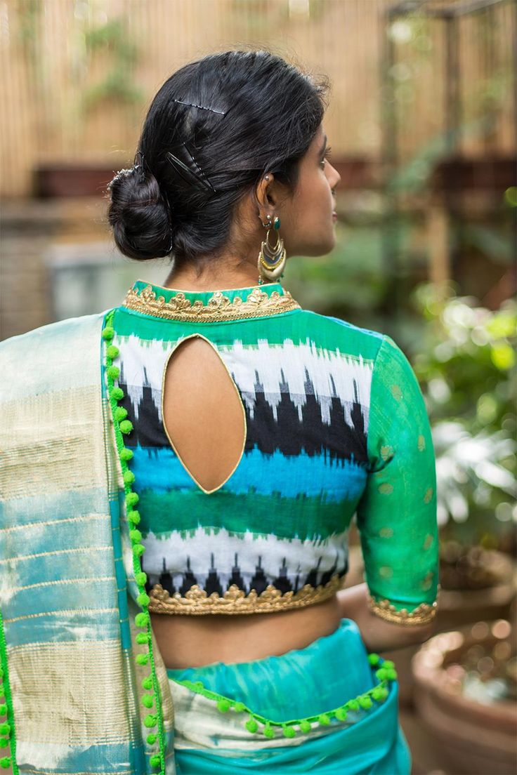 Blouse designs saree blouse back designs blouses neck designs 30 jpg - Buy House Of Blouse Blue Green Ikat And Silk Chinese Collar Blouse Online In India At Best Price