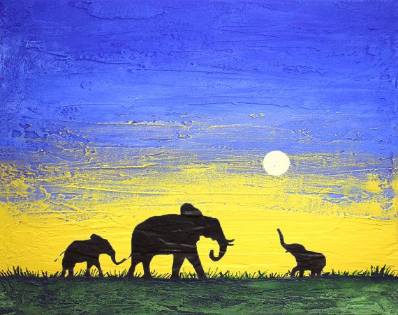 elephant good luck animal african art landscape by wrightsonarts
