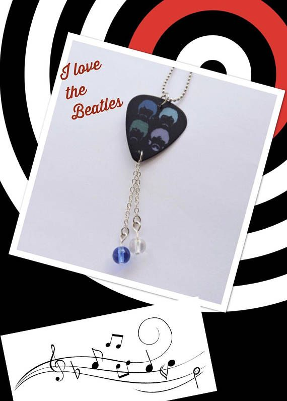 The Beatles Guitar Pick Necklace Guitar Pick Jewelry