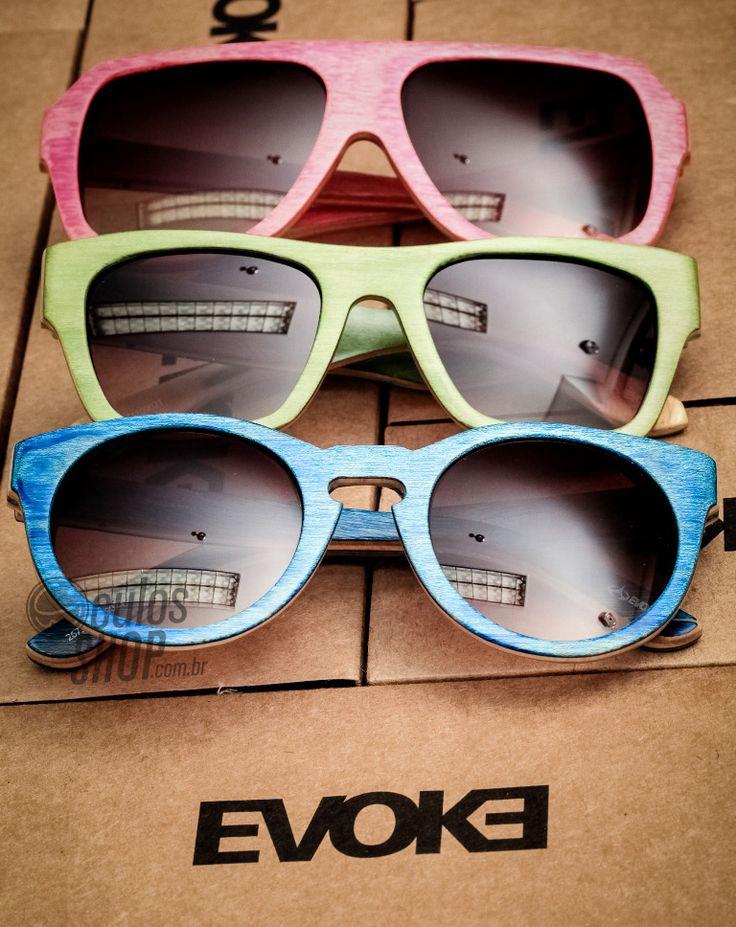 Coloridos e feitos de madeira, esses são os óculos Evoke! 8) #oculos #evoke #style #moda #eyewear #sunglasses #madeira #maple #colors #redondo