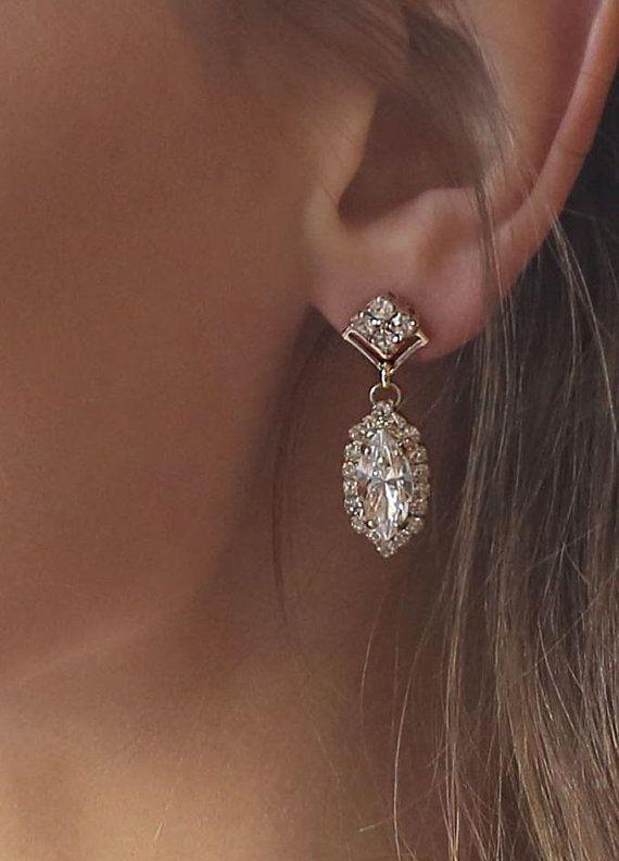 Bridal Earrings, Bridal Jewelry, Crystal Wedding Chandelier, Swarovski Brides Earrings, Vintage Gold Style Earrings, Bridesmaid Jewelry, Accessories