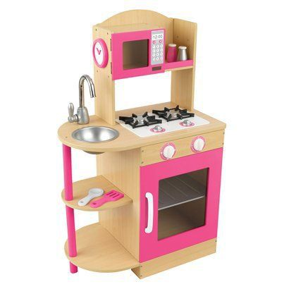 "Dimensions: 37.0 "" H x 23.0 "" W x 14.0 "" D KidKraft Wooden Kitchen - Pink. $82.99 from target. Compact but no storage"