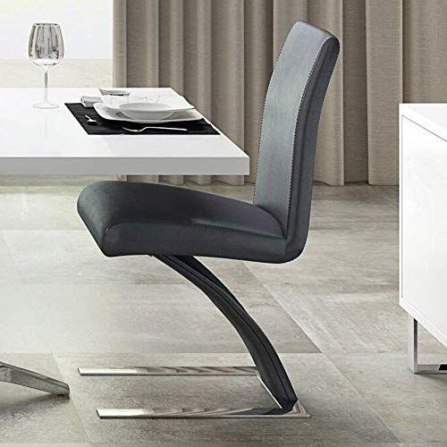 Zuri Furniture Modern Mesa Dining Chair In Dark Grey Microfiber