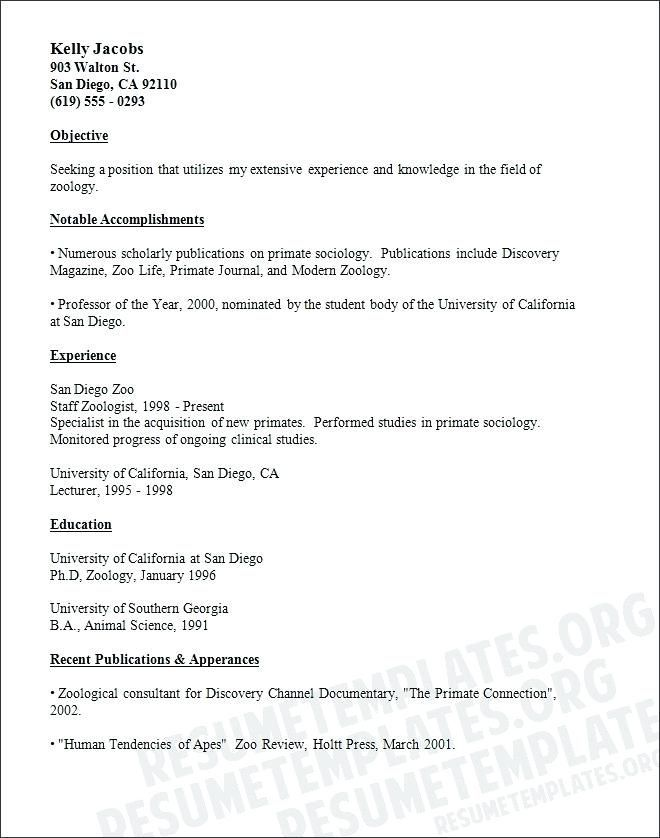 Zoology Resume Examples Resumeexamples