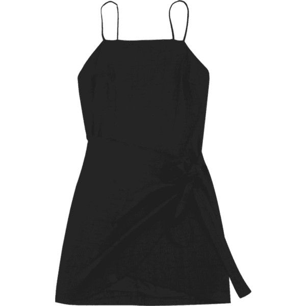 Slit Knotted Mini Slip Dress Black M (£13) ❤ liked on Polyvore featuring dresses, short dresses, short mini dress, slip dress, knot dress and slit dress