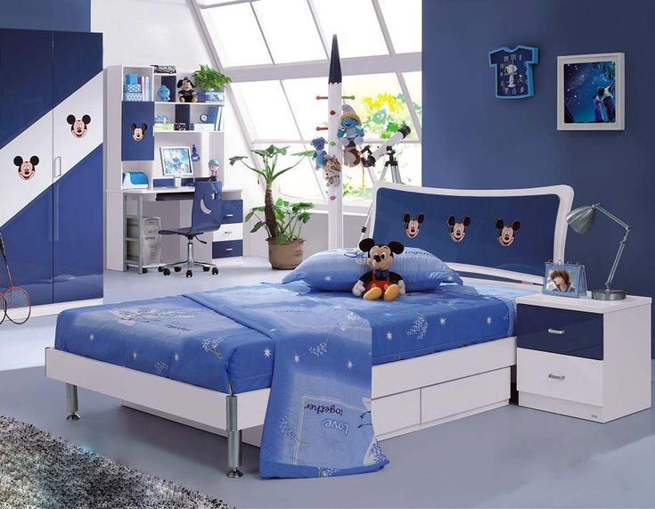 Modern Blue Bedroom Ideas And White Attic Kids Room Design With Mickey Mouse
