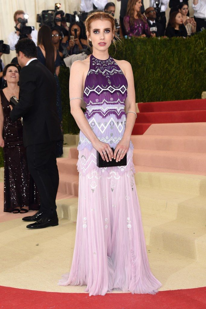 Emma Roberts in Tory Burch on the 2016 Met Gala red carpet