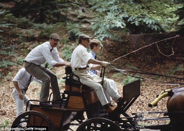 Prince Philip and Prince Edward ride a horse drawn carriage.He is even credited with developing the sport - and an early carriage driving rule book was drafted under his supervision