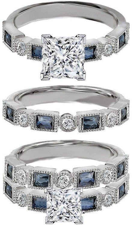 Princess Cut Diamond Engagement Ring Blue Sapphire Accents & Matching Wedding Ring