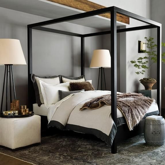 Beds/headboards - Our dramatic modern canopy bed is built from oak, finished by hand to a deep, rich ebony. Left undraped, the square posts and canopy frame create an airy, architectural room-within-a-room.