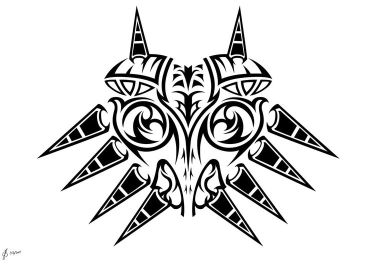 Majoras Mask Tribal BW by *Sharindan-dragon on deviantART
