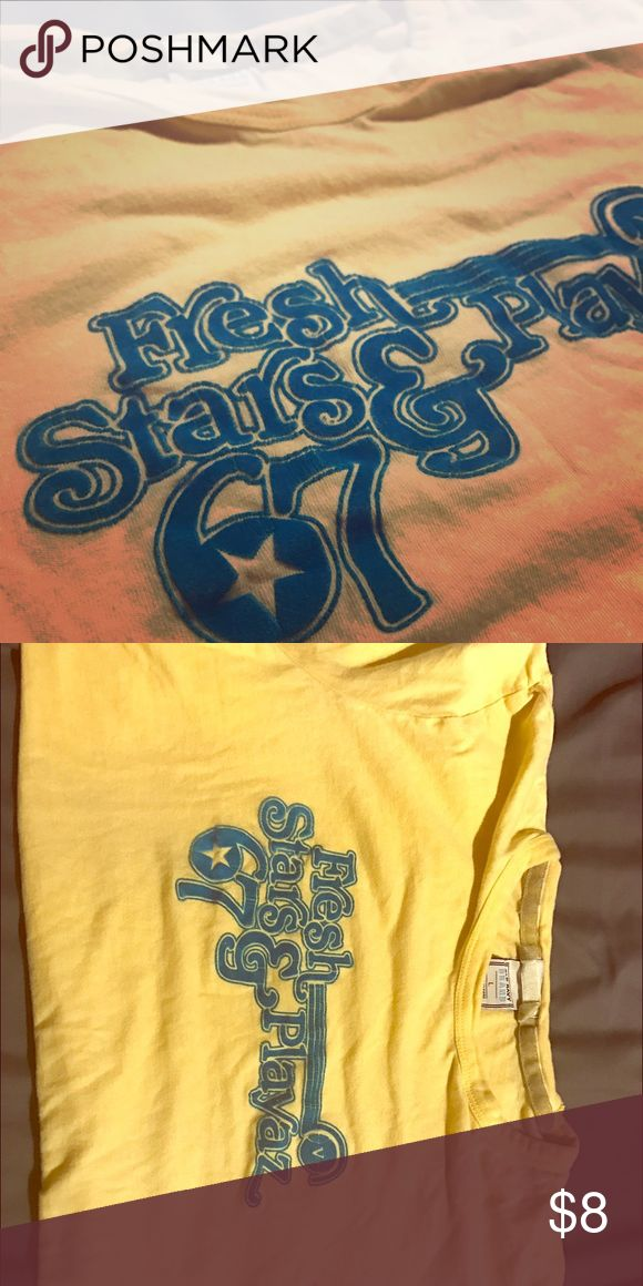 Old Navy tee with velveteen letters! So cute! Size Large! Yellow with jade velveteen letters! So cute and comfy. Loved but so much love left! Old Navy Tops Tees - Short Sleeve
