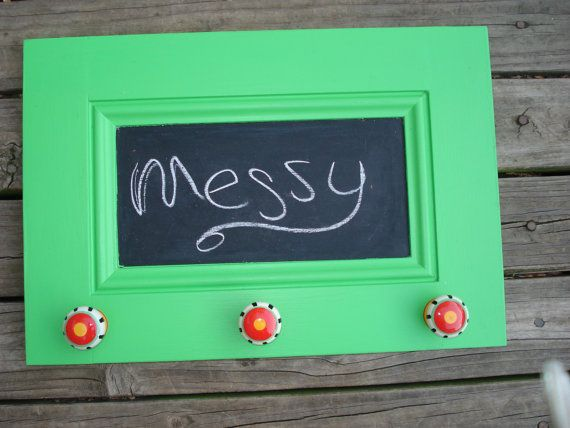 Upcycled Cabinet Door into Chalkboard Frame with by messymimi, $25.00