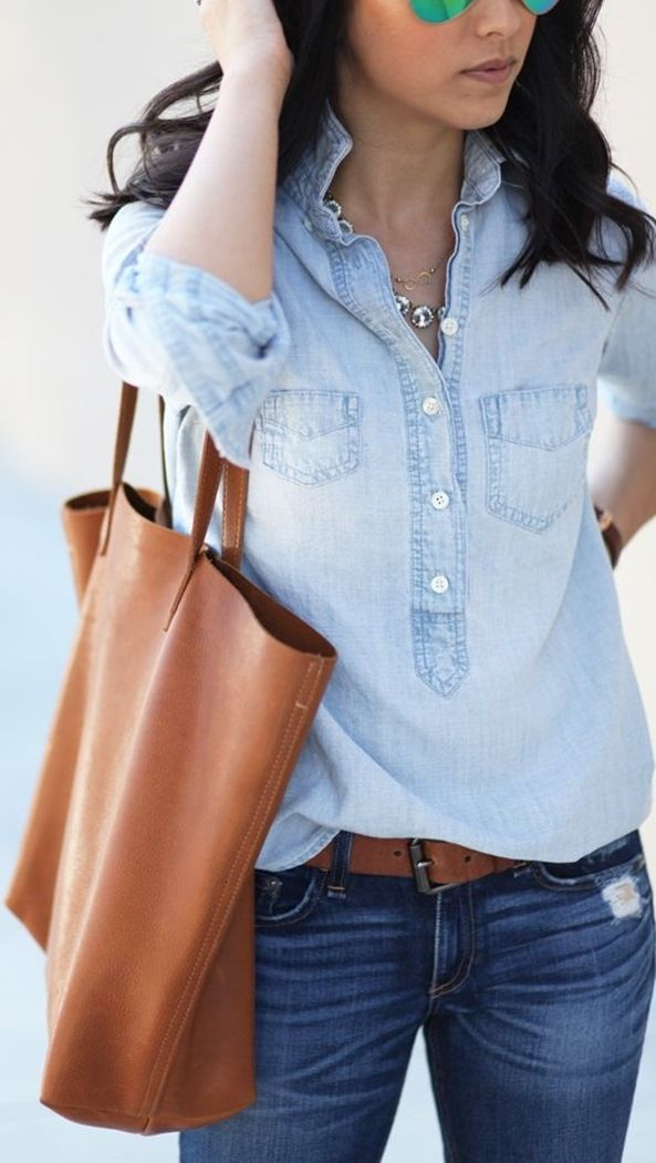 how to style a brown bag : denim shirt and jeans