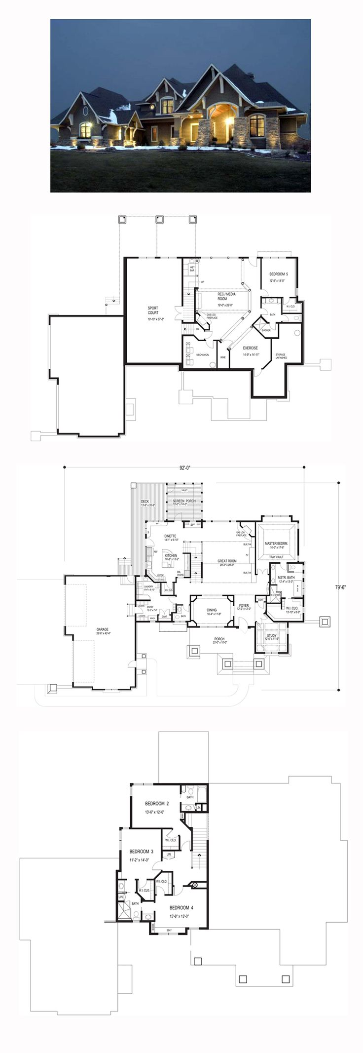 Craftsman House Plan 92351 | Total Living Area: 3651 sq. ft., 5 bedrooms and 4 bathrooms. This master-on-the-main design features a private study with a coffered ceiling, an elegant dining room and spacious great room with a corner fireplace. #craftsmanhome