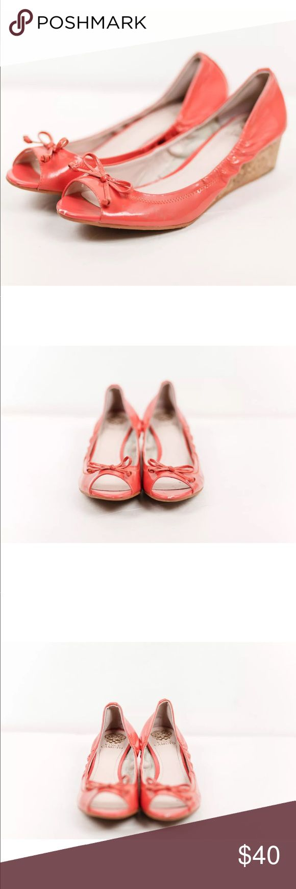 VINCE CAMUTO RITTS Coral Orange Wedge Open Toe VINCE CAMUTO RITTS Coral Orange Leather Cork Wedge Open Toe Shoe Sandals Sz 10M. Wear on the insoles Vince Camuto Shoes Wedges